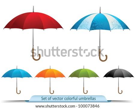 Set of vector colorful umbrellas - stock vector