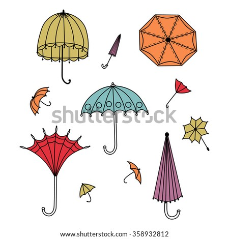 Set of vector colorful umbrellas in vintage style - stock vector