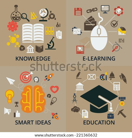 Set of 4 vector concept icons for education. Icons for education, smart ideas, e-learning and knowledge - stock vector