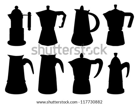 Set of vector contours of typical italian coffee-maker - stock vector