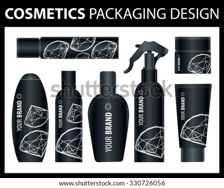 Set of vector cosmetic diamond packages samples for product design - stock vector