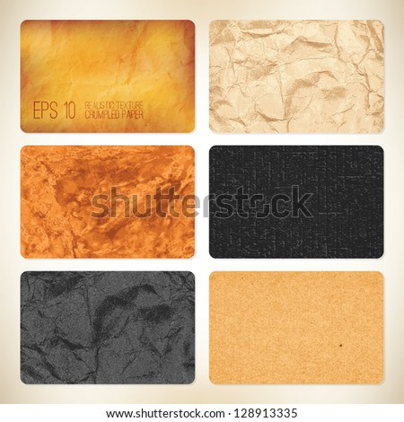 Set of 6 vector crumpled paper backgrounds. For business card
