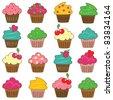 Set of 16 Vector Cupcakes - stock vector