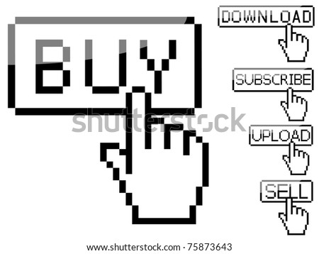 Set of Vector cursor buttons - stock vector