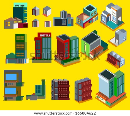 Set of vector cute buildings on a yellow background - stock vector