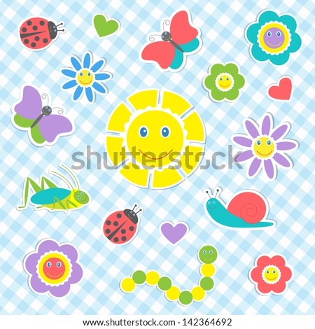 Set of vector cute insects and flowers - stock vector