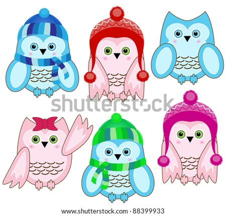 set of vector cute winter wise owls on white background - stock vector