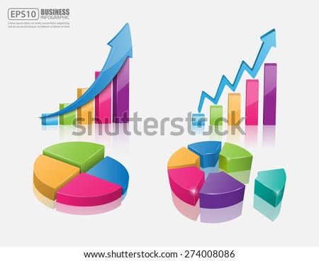 Set of vector 3d graph, vector - stock vector