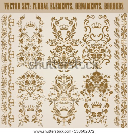 Set of vector damask ornaments. Floral elements, borders, crowns for design. Page decoration. - stock vector