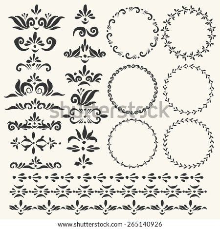 Set of vector decorative elements and used pattern brushes included. Round frames with hand drawn ornamental strokes, headers and corners. Cute black wreaths and stripe ornaments. - stock vector