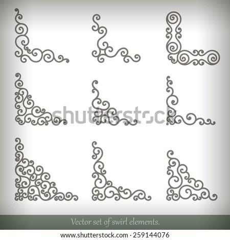 Set of vector decorative elements. Corner design. - stock vector
