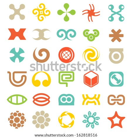 Set of Vector Decorative Elements for your Logo Design. Abstract Icons. Vector illustration - stock vector