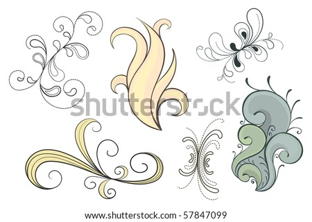 Set of vector decorative swirls in a variety of styles - stock vector