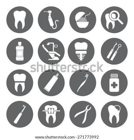 Set of vector Dental Icons in flat style. Dental white icons on grey basis. - stock vector
