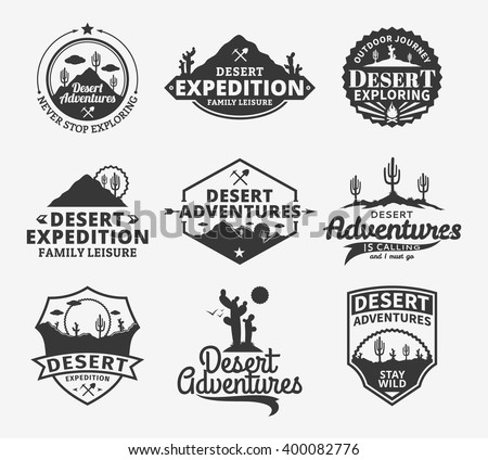 Set Vintage Camping Outdoor Activity Logos Stock Vector