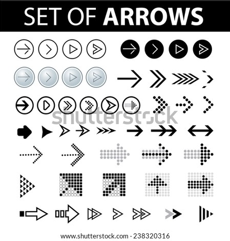 Set of vector design element for web design - different arrows - stock vector
