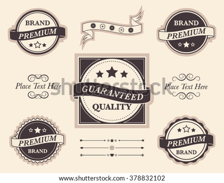 Set of vector design elements, badges and seals with copy space. Collection of frames, borders, ribbons, decorative filigree and divider lines with text.