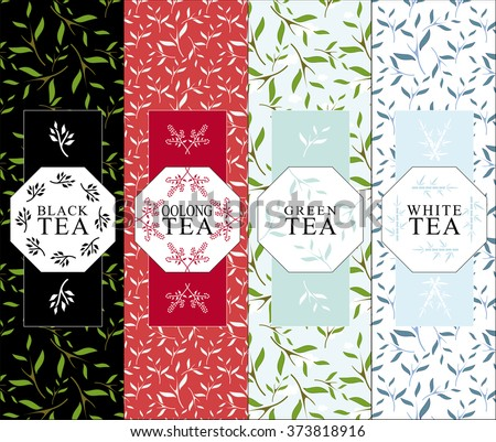 Set of vector design elements for packages. Herbal coloring background for black, oolong, green, white tea.  Symbol, frame from branch, leaves, berry. Black, red, blue color. Minimalistic flat style  - stock vector