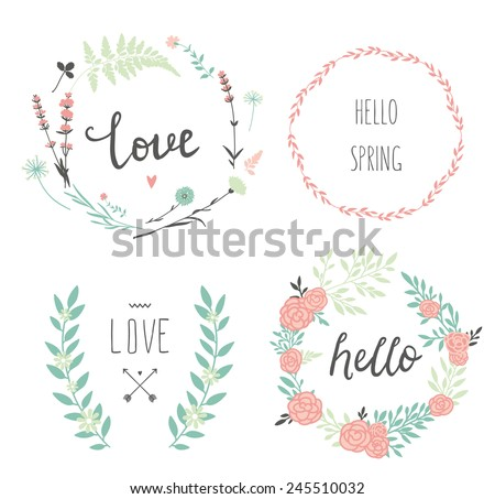 Set of 4 vector design floral wreaths and typography. Hand drawn love collection. Valentine's day kit. Set for wedding design. Save the date. - stock vector