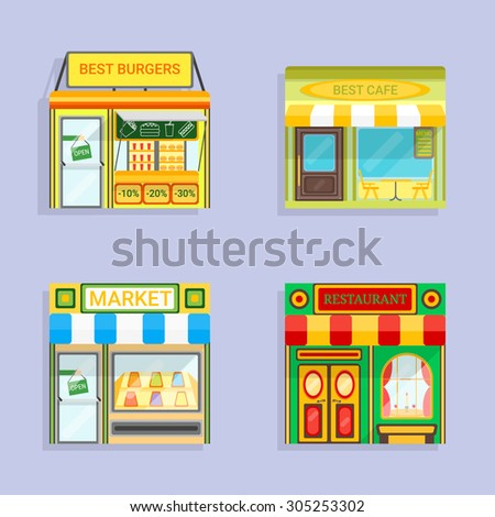 Set of vector detailed flat design restaurants facade icons with shadows. Burgers, Cafe, Market and restaurant fronts. For restaurant business and graphic design.