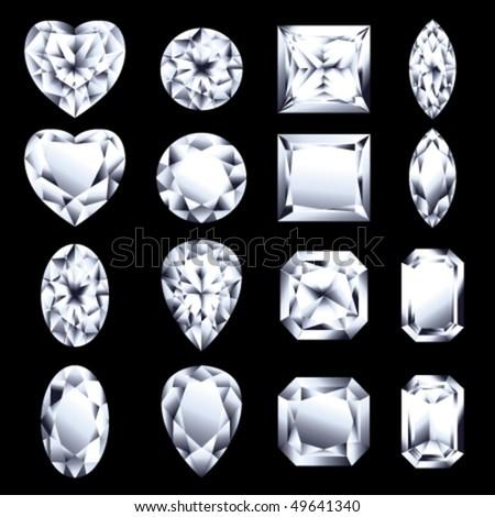 set of vector diamonds for design - stock vector