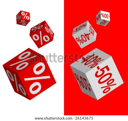 Set of vector discount dices on white and red background - stock vector