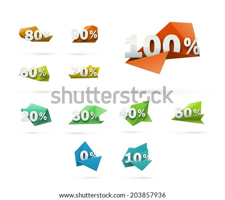Set of 0% - 100% vector discount labels isolated on white. Abstract origami style marks with cool realistic effects. - stock vector