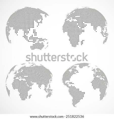 Set of vector dotted globes - stock vector