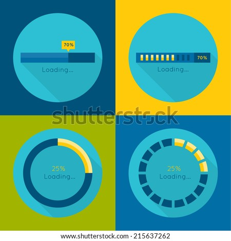 Set of vector downloaders. progress bar and loading icon. ui preloader web elements. flat design with long shadows - stock vector