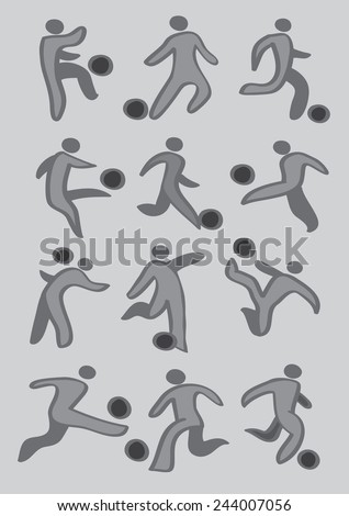 Set of vector drawing of soccer player kicking soccer ball icons in grey and black isolated on light grey background - stock vector