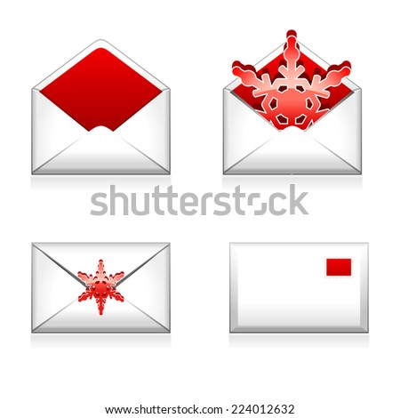 Set of vector e mail icon with snowflake - stock vector