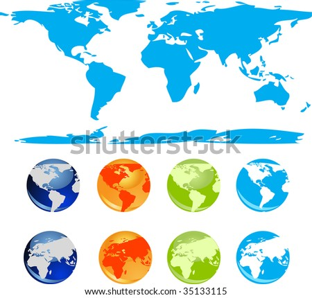Set of vector earth glossy globe and world map