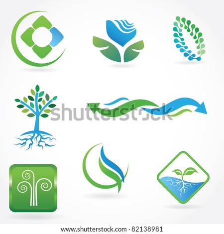 Set of vector ecological symbols - stock vector