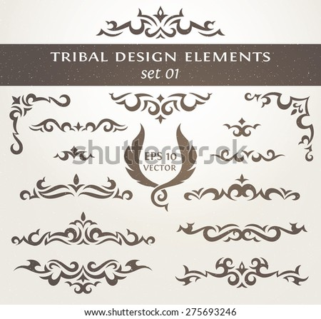 Set of vector elements in tribal style. Collection of Decorative borders. Perfect for Invitations, Posters, Badges, Logos, Labels,  and other design.