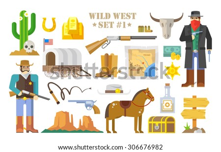 Set of vector elements on the theme of wild West. Cowboys. Life in the wild West. The development of America. Modern flat style. Part one. - stock vector