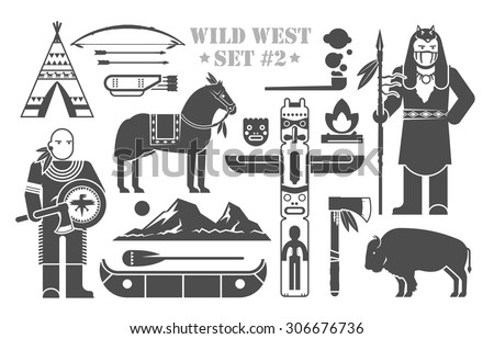 Set of vector elements on the theme of wild West. North America indians. Life of native Americans. The development of America. Modern flat style. Part two. - stock vector