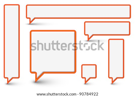 Set of vector empty plastic Comic Clouds and bubbles with red border - stock vector
