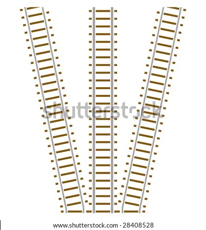 Set of vector endless train railway track - stock vector