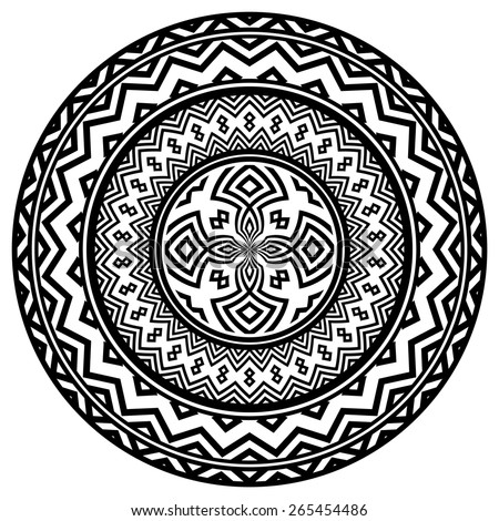 Set of vector ethnic circle / labels - stock vector