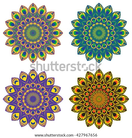 Set of vector ethnic circular patterns or mandalas with elements of peacock and fire bird tail in east, indian, brazilian and mexican style.Mandalas for print - stock vector