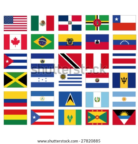 set of vector flags of all american countries