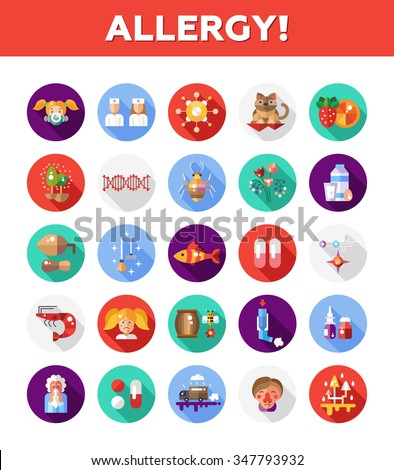 Set of vector flat design allergy and allergen icons and infographics elements - stock vector