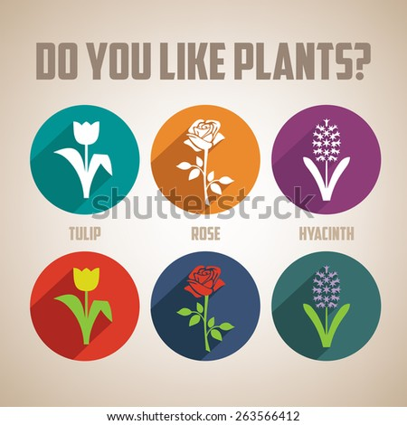 Set of vector flat design concept icons for flowers  - stock vector