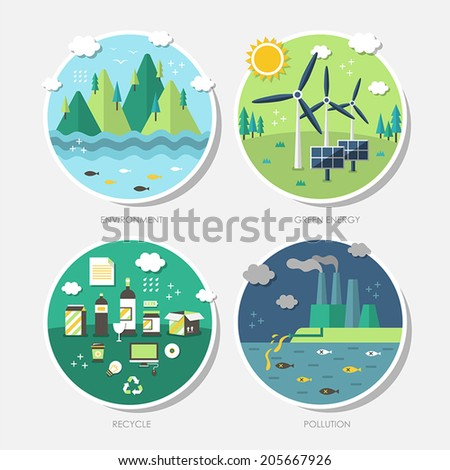 set of vector flat design concept illustrations with icons of ecology