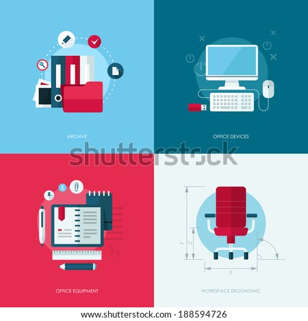 Set of vector flat design concept illustrations with icons of office equipment and devices - stock vector