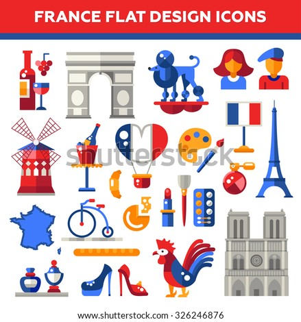 Set of vector flat design France travel icons and infographics elements with landmarks and famous French symbols