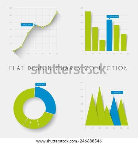Set of vector flat design infographics statistics charts and graphs -blue and green version - stock vector