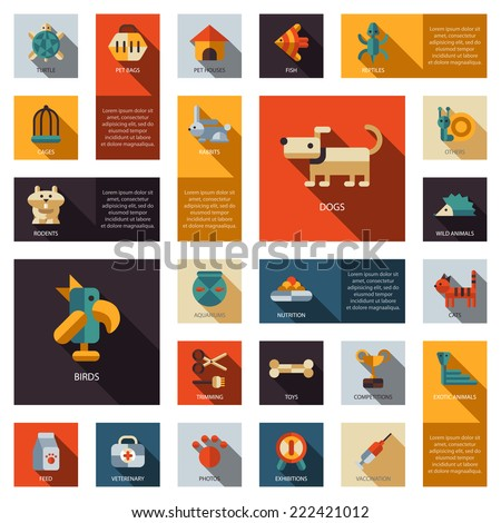 Set of vector flat design pet shop icons - stock vector