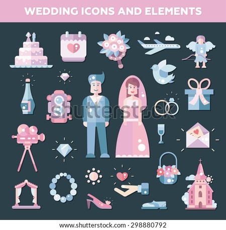 Set of vector flat design wedding and marriage icons and elements