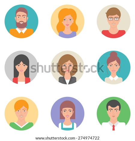 Set of vector flat style avatars, male and female characters - stock vector